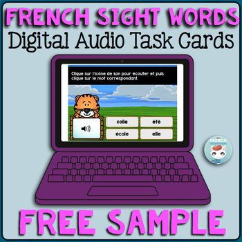 Mots fréquents | French Sight Words Audio Digital Task Cards | Boom Cards: this is a free sample of a bundle of 200 audio digital task cards to practice French sight words. Students click to hear a word, then click on the corresponding written word.