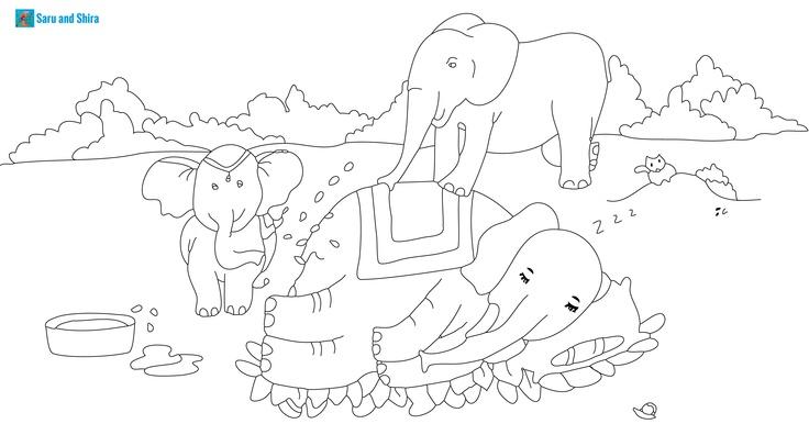 Pinta a la familia elefante, Saru quiere despertar a yaya Saru, y Tempo parece que también. Un bonito regalo para el día del Padre.