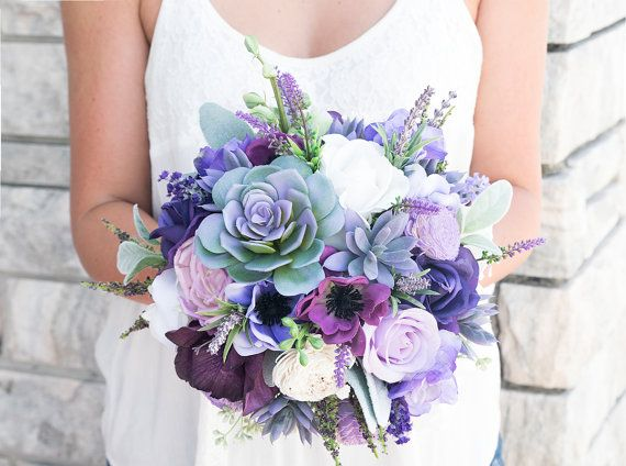 Custom Lush Plum Purple Lilac Wedding Succulent Anemones and