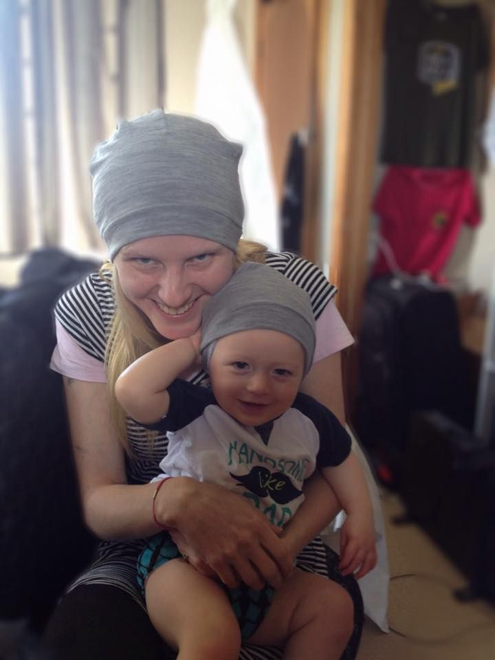 Matching slouch beanies! Cool!  Love this look from With Love