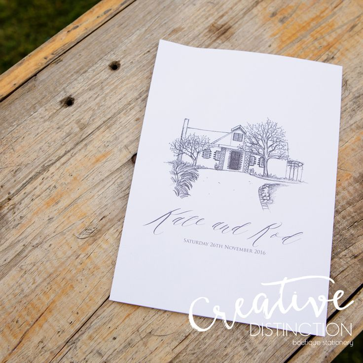 We had so much fun doing this illustration of Kate and Rod's private residence for their order of service booklets!  Credit to @ariaphotography for this gorgeous shot! For all enquires please click on link in bio or contact us at info@creativedistinction.com.au
