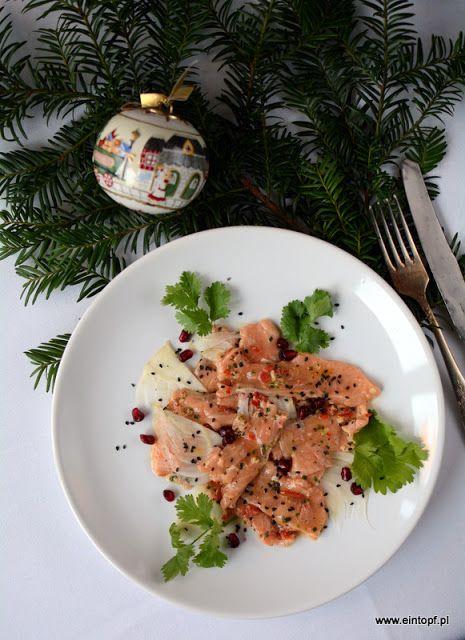eintopf: carpaccio z marynowanego łososia z fenkułem i kole...