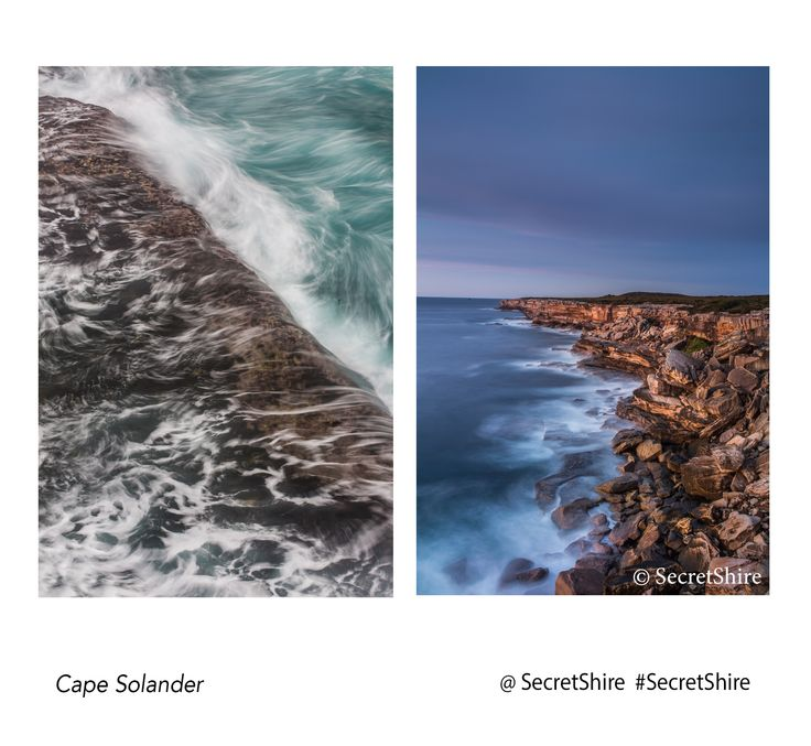 This is a view of Cape Solander in The Botany Bay National Park in Kurnell. This view is looking south towards the point and the beaches of Wanda, Elouera, Cronulla both main beach and south beach. There is also a detail shot of the rock shelf below showing the motion of the ocean. #secretshire