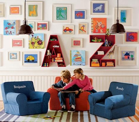 Decoración para cuarto de niños, con letras y cuadros