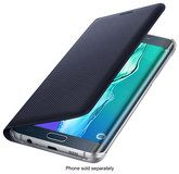Samsung - Wallet Flip-Cover Case for Samsung Galaxy S6 edge Plus Cell Phones - Black Sapphire