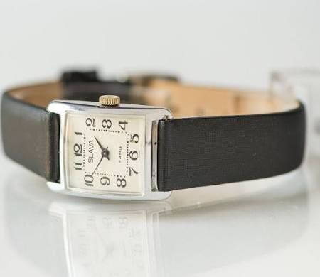 Black white woman's watch, square women's watch, mint condition lady's watch, minimal design watch, premium leather and textile strap new
