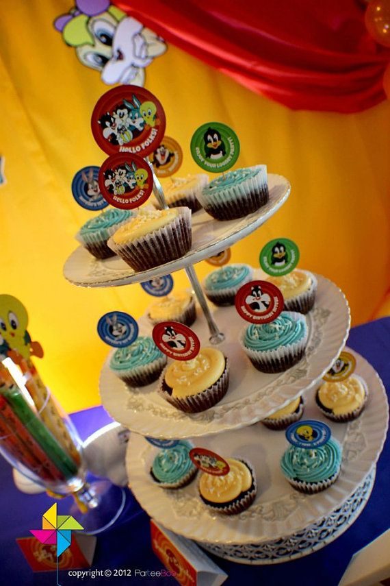 Customized Party Cupcake Toppers Looney Tunes Theme x 24 by ParteeBoo, $11.99