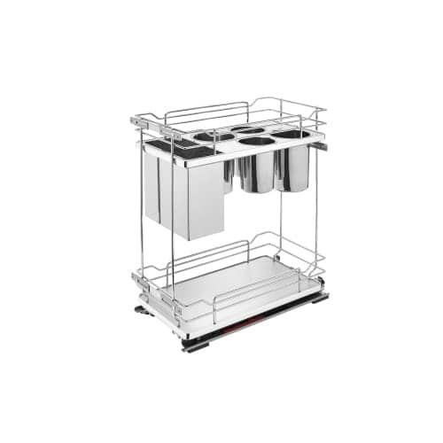 Rev-A-Shelf 5322KB-BC-11 5322KB Series 11 Wide Two Tier Pull Out Base Organizer with Storage Bins and Soft Close Slides (