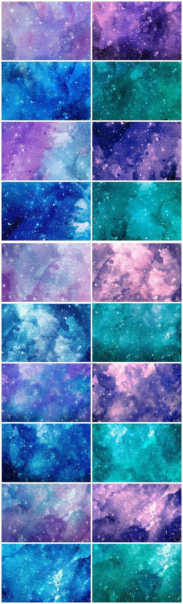 Texturas que se basan en colores monocromáticos, luces y sombras. Acuarelas saturadas y desaturadas. Reptición de elementos en las estrellas.