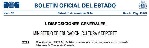 REAL DECRETO 126/2014. CURRÍCULO BÁSICO DE LA EDUCACIÓN PRIMARIA - AULA PT