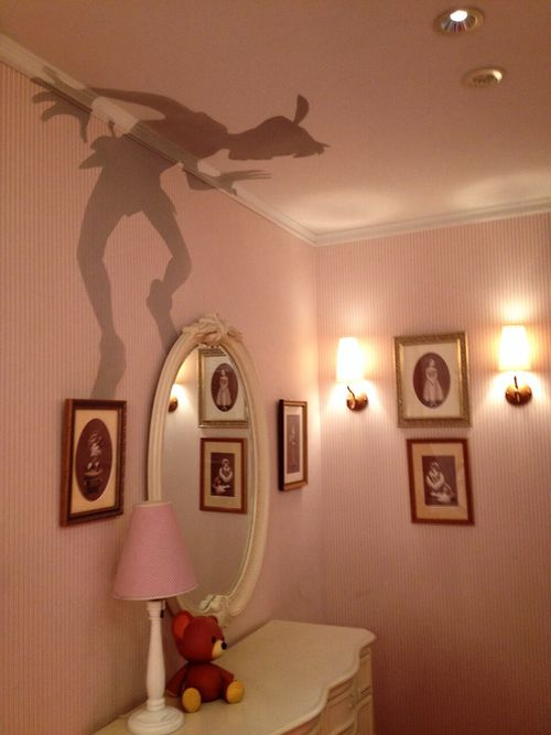 Peter Pan's Shadow:  This particular effect  was done by an interior designer and is painted on directly. It is not achieved by a decal on a lamp shade.  If it were, it would be casting off residual light around the silhouette.  Me?  Make a silhouette.  Enlarge.  Trace onto fabric (same kind of fabric used underneath furniture after it's upholstered).   I won't get the exact same effect but it's worth the try.  Hope that helps and Happy Pinning.  ;)