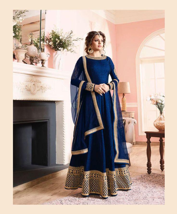 Drashti Dhami Blue Silk Long Anarkali Suit 78528