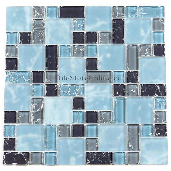X Blue Glass Tile