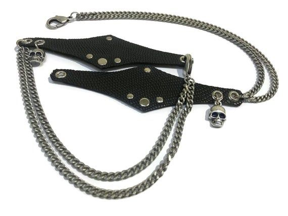 Leather Boot Straps & Chains, Cyberpunk Fashion (Boots Not Included), Holidays Gifts