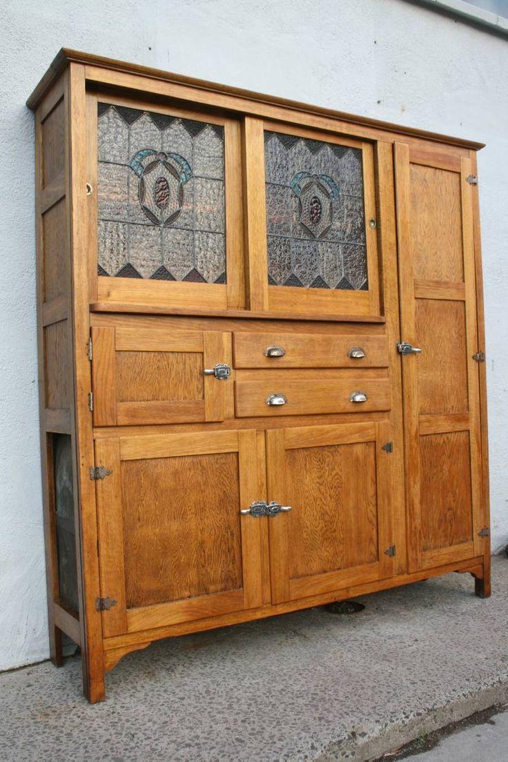 A Vintage Oak Kitchen Cabinet Cupboard Leadlight Meat Safe Bread Bin Pantry