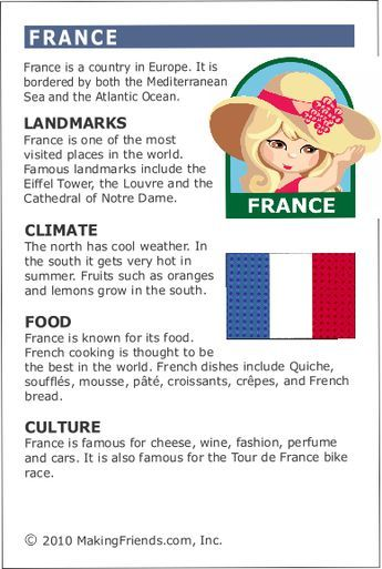 MakingFriends Facts about France Printable Thinking Day fact card for our passports. Perfect if you chose France for your Girl Scout Thinking Day or International Night celebration.