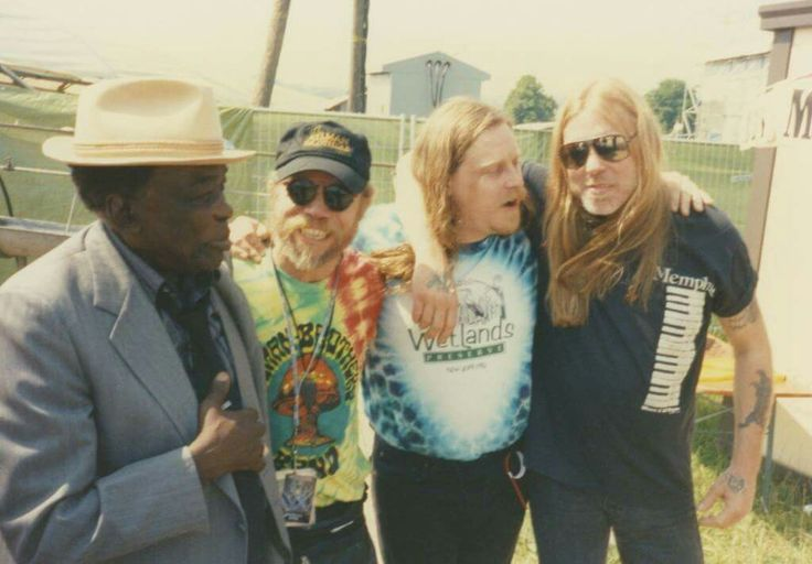 July 4, 1991. Switzerland. John Lee Hooker, Warren, Kirk West and Gregg Allman. Last Bros Europe tour. No collard greens haha!