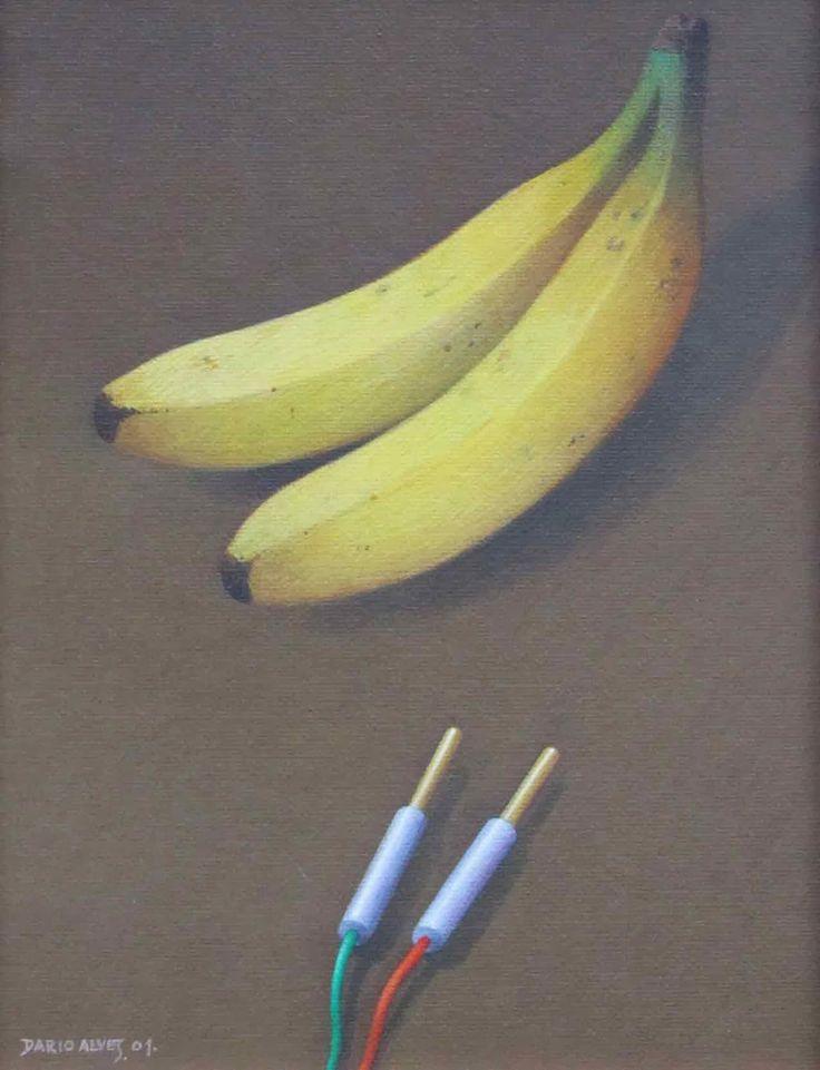 Quadro com quatro bananas/ acrílico sobre tela/ 18x24 cm/ 2001