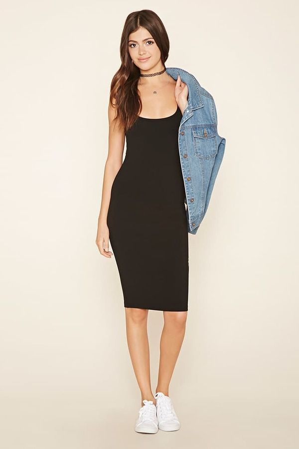 bd5bf371874 FOREVER 21 Bodycon Midi Dress Black Midi Dress for Every Occasion White  Sneakers Choker Cute Girl