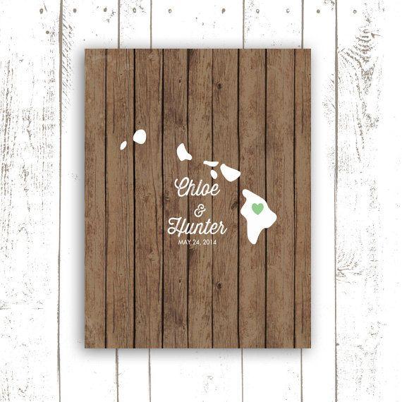 Hawaii Wedding Guest Book Rustic Guest by MooseberryPrintShop, $38.00