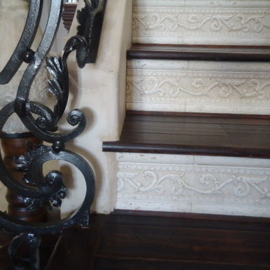 (what about faux tin tile on steps like this?!)Carpet Stairs Design, Pictures, Remodel, Decor and Ideas - page 13