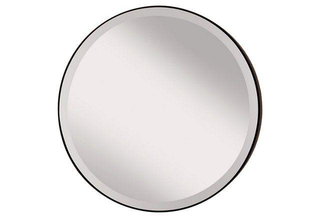 """29"""" Round Thin Frame Mirror, Bronze"""