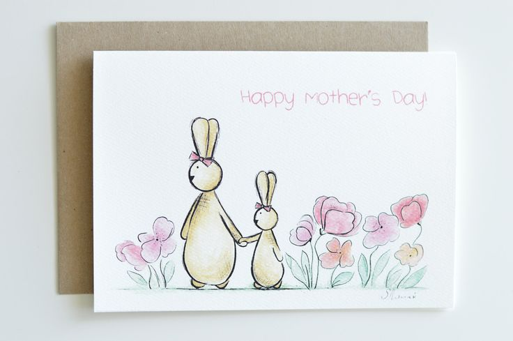 Mother's Day Card Rabbit Card bunny card for by ShenasiConcept