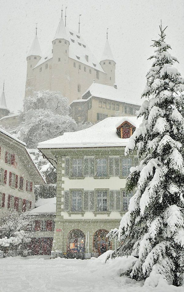 Fairytale Thun Castle and the Town hall under snow storm, Thun, Switzerland | by Stefan Grünig