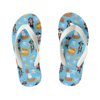 Ahoy! It's a Pirate Treasure Hunt Kids Fun Pattern Kid's Flip Flops - fun gifts funny diy customize personal