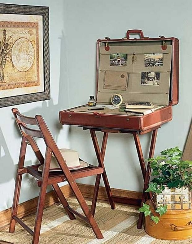 "Reuse Old Suitcases - this is a little bit too much on the ""theme-y"" side for a real house, but i do like the idea of a traveling desk..."