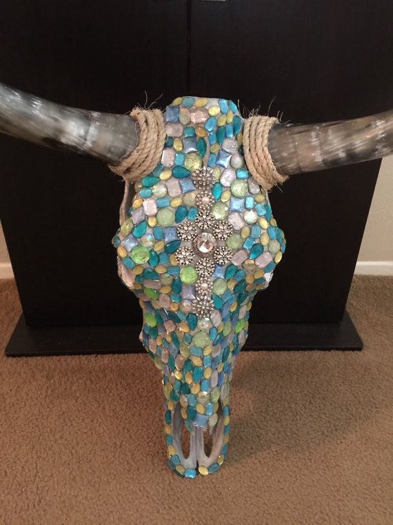 Bedazzled Cow Skull by CountyChicSkulls on Etsy