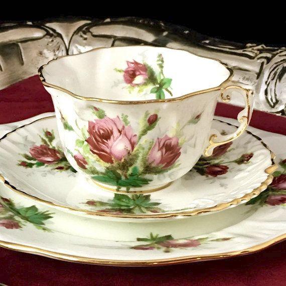 Vintage Tea Cup Trio Set, Teacup, Grandmother's Rose Hammersley, 1950's English…