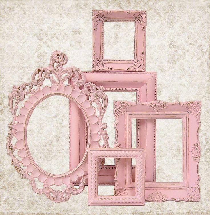 Shabby Chic Picture Frame Pastel Pink Picture Frame Set Ornate Frames Wedding Nursery Shabby Chic Home Decor, via Etsy.
