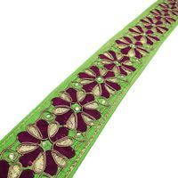 Embroidered Trim Green Sari Border 8.3 Cm Wide Decorative Craft Sewing By 1 Yd