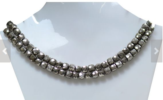 Natural Pyrite Gemstone Beads, 8 Inch Silver Pyrite String with 28 Beads