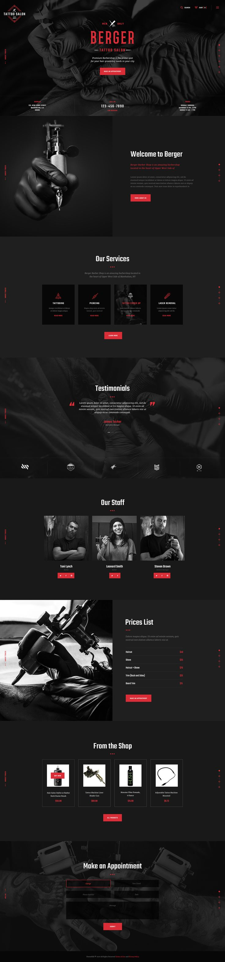 Impressive design with its engaging contents will make your website a real standout amongst barbershops and tattoo salons. Berger was created to serve as hairdresser's portfolio, blog on barberging/hairdressing, hair salon's or beauty shop's website.                                                                                                                                                                                 More