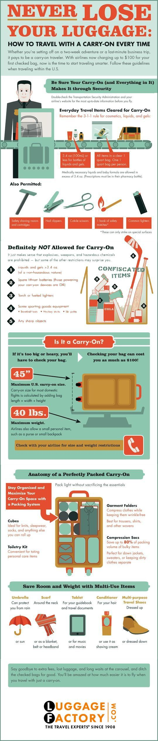 How to travel with just one carry on each time #travel #vacation #information This Pin re-pinned by www.avacationrental4me.com