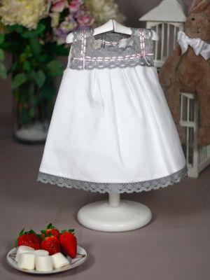 vestido paz rodriguez verano bebé blanco y gris