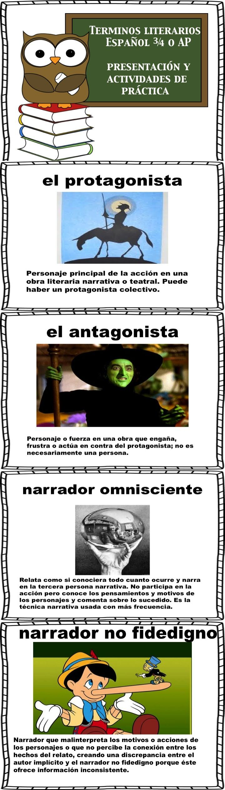 Terminos Literarios-presentation, note taking, and activity. Great for teaching students how to analyze literature in Spanish.