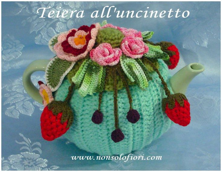 "🌸""Teiera/Primavera"" - rivestita all'uncinetto 🌸 www.nonsolofiori.com #teiera #uncinetto #teapot #crochet #tetera #ganchillo #fragole #more #crochetartist #crochetart #artflowers #galleries #artecontemporanea #artwork #natureinspired"