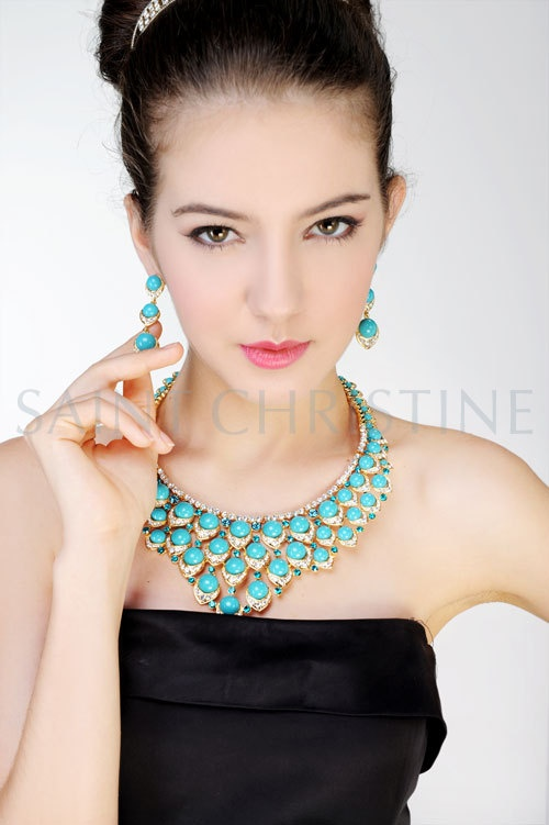 Fashion Luxury Green Beads with Rhinestones Necklace & Jewelry Set at Saintchristine.com