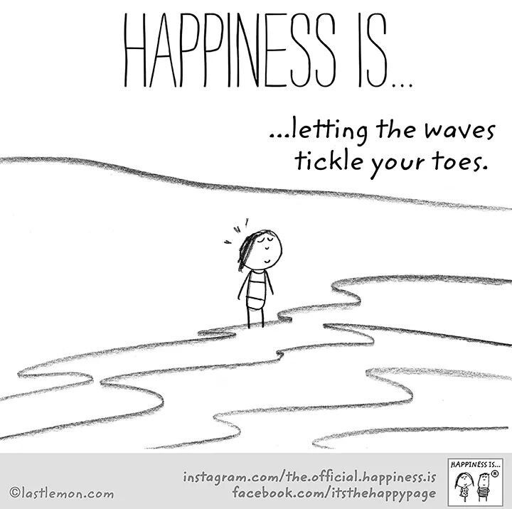 Happiness is ...letting the waves tickle your toes.