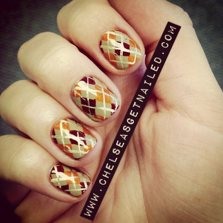 108 best nail art autumn images on pinterest autumn nail art thanksgiving argyle nals by chelsea queen prinsesfo Images