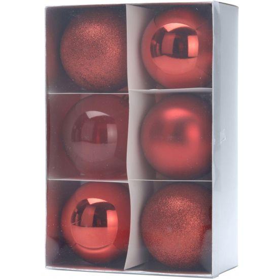 6 rode kerstballen 8 cm  Deze rode kerstballenset bestaat uit 3 soorten roodtinten kerstballen. Gemaakt van kunststof. Diameter: ca. 8 cm.  EUR 4.50  Meer informatie