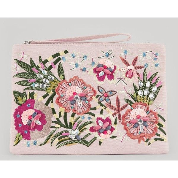 New Look Pink Floral Embroidered Clutch ($29) ❤ liked on Polyvore featuring bags, handbags, clutches, oatmeal, vegan handbags, new look handbags, faux leather handbags, faux leather purses and new look purses