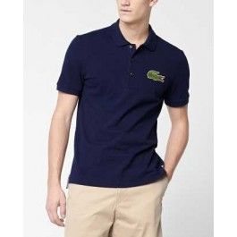 Tall Short Sleeve Oversized Crocodile Pique Polo, Navy Blue