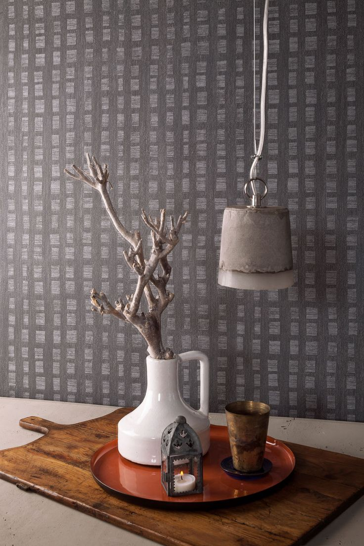 Wallpaper Camarque Grey blocks / Behang Camarque grijs blokken ...