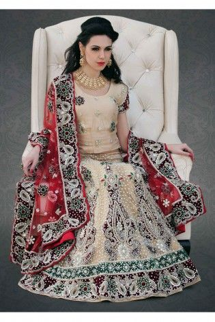 Heavy Graceful Cream And Maroon Bridal Lehenga
