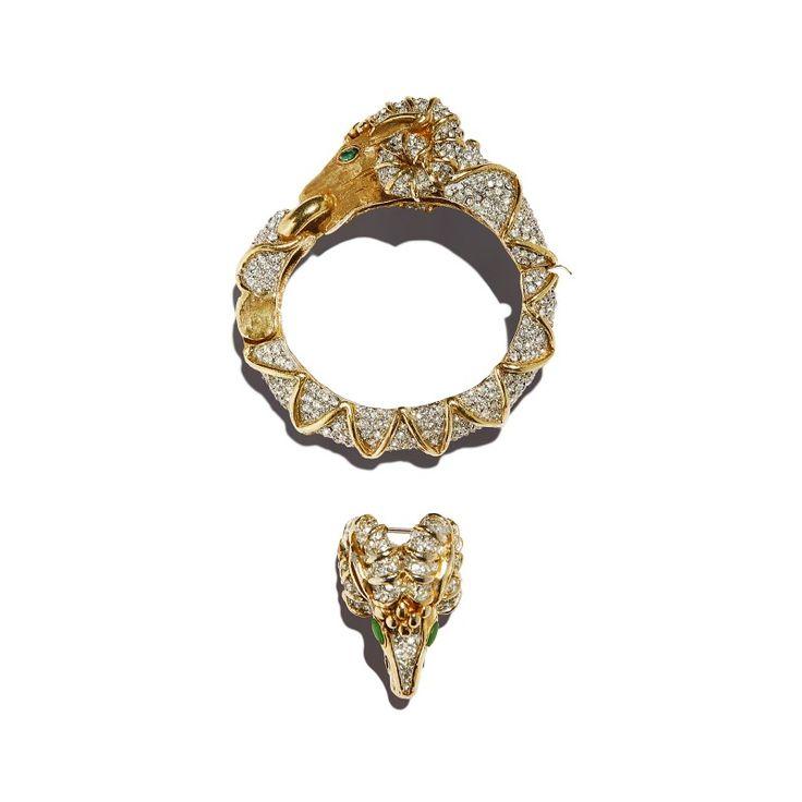 """Vintage Kenneth Jay Lane """"ram"""" bracelet and brooch set, c. 1970"""
