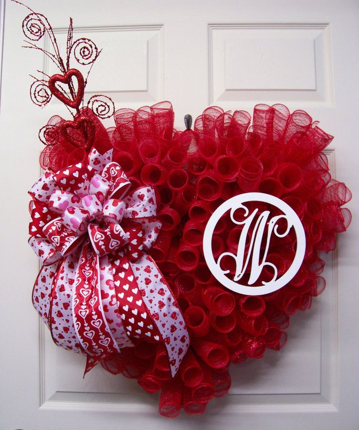 a61ee3e943021d82a8770837cb363f06 valentine day wreaths valentine decorations - Valentine Wreath,Mesh Wreath,Initial Valentine Wreath,Heart Wreath,Valentine&#39...